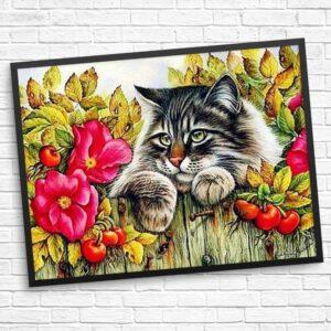 Blumen und Katze