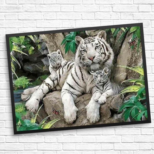 Tiger und Jungtiere - Kunst mit Diamanten