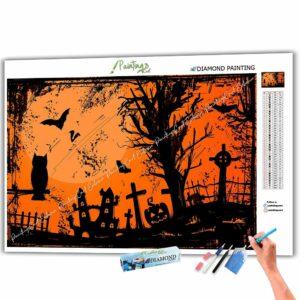 Eule und Fledermäuse - Halloween