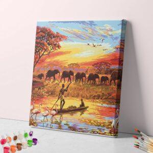 Glückliche Elefanten mit Familie