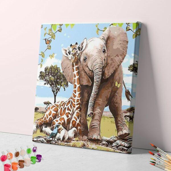 Die besten Freunde Elefant und Giraffe