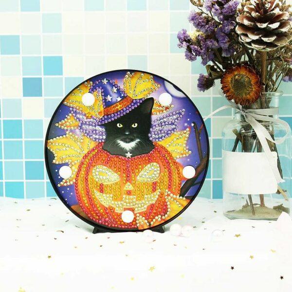 Schwarze Katze und Kürbis - Halloween-Nachtslampe